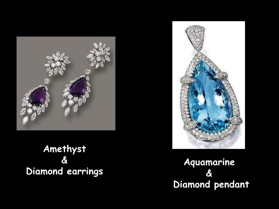 Amethyst & Diamond earrings Aquamarine & Diamond pendant