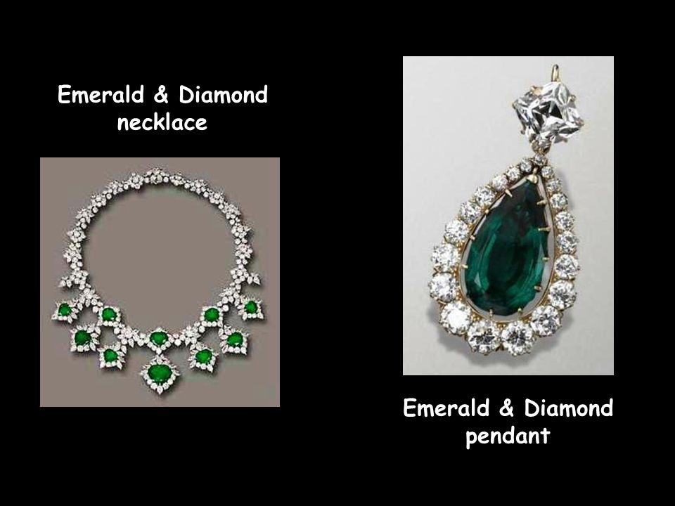 Emerald & Diamond necklace Emerald & Diamond earrings