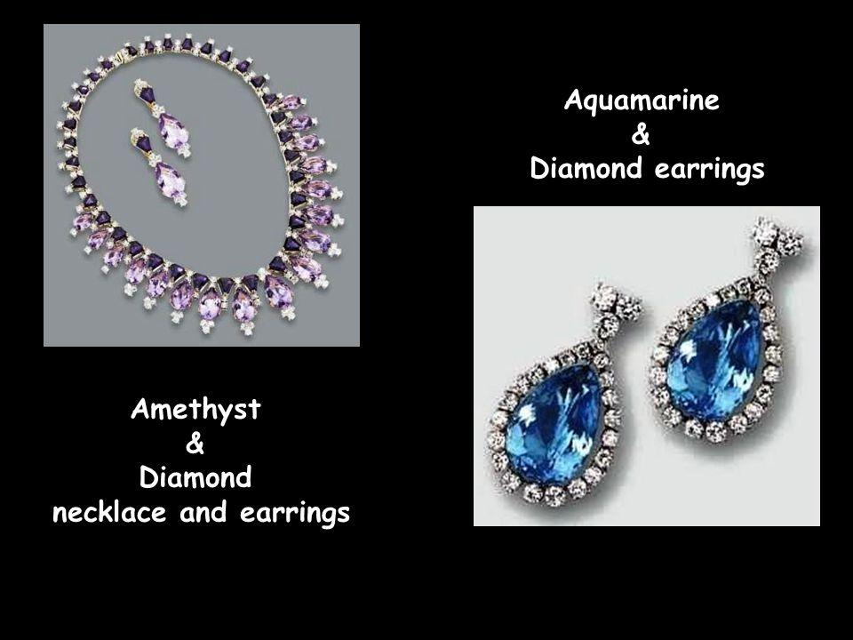 Amethyst & Diamond necklace and earrings Aquamarine & Diamond earrings