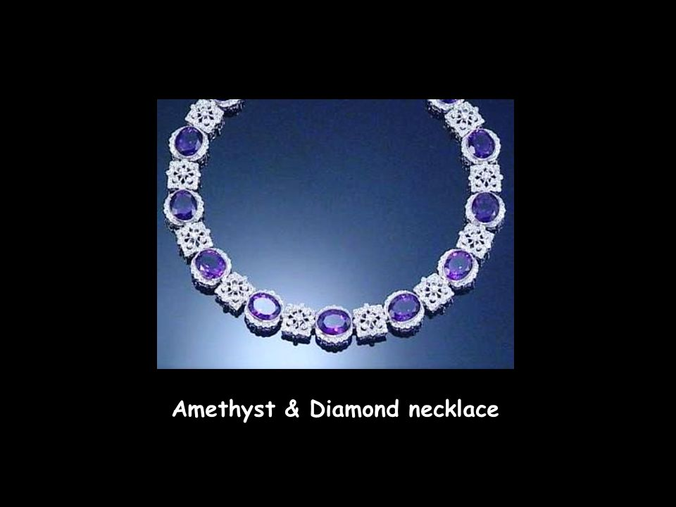 Amethyst & Diamond necklace and earrings Aquamarine & Diamond earrings