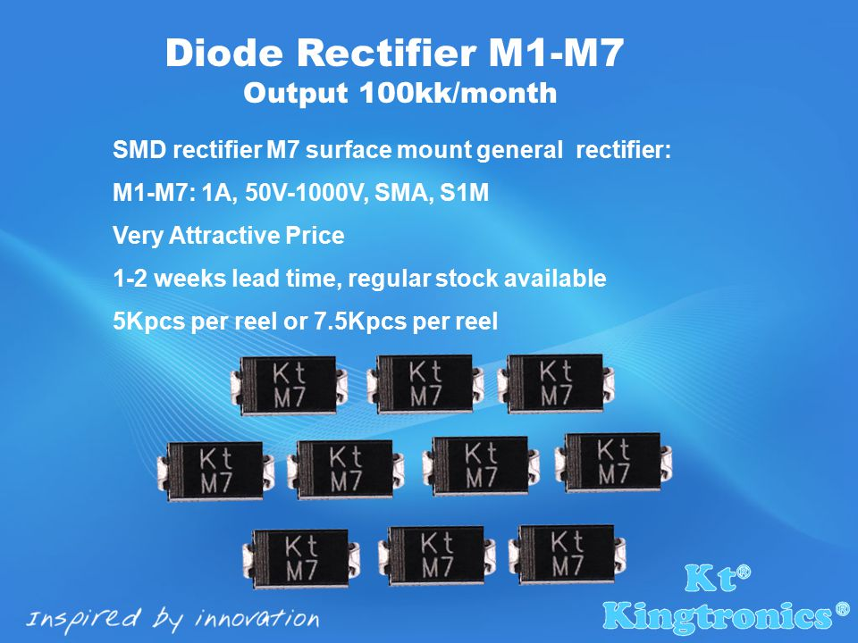 SMD rectifier M7 surface mount general rectifier: M1-M7: 1A, 50V-1000V, SMA, S1M Very Attractive Price 1-2 weeks lead time, regular stock available 5Kpcs per reel or 7.5Kpcs per reel Diode Rectifier M1-M7 Output 100kk/month