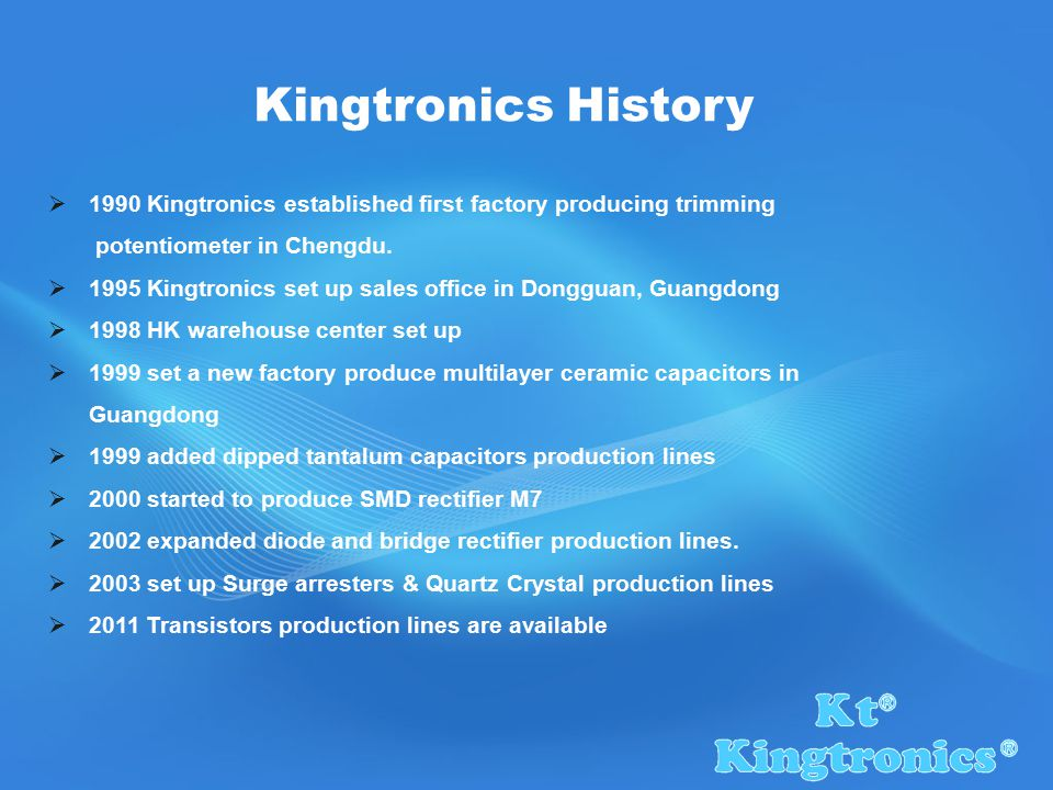  1990 Kingtronics established first factory producing trimming potentiometer in Chengdu.
