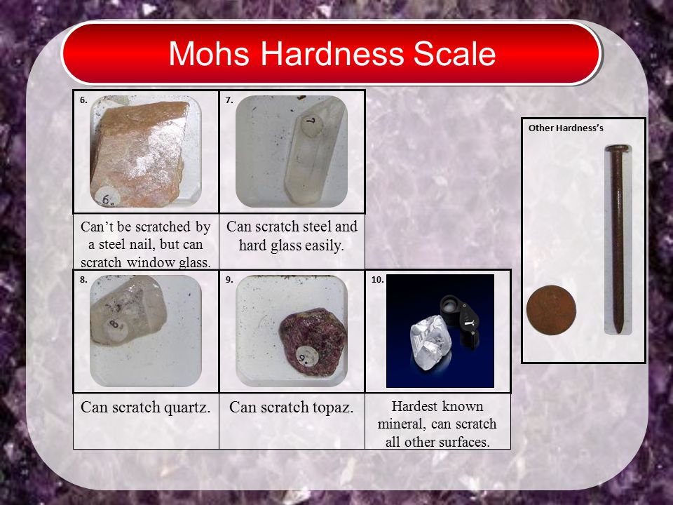 Mohs Hardness Scale 6. 10. Other Hardness's 7. 8.9. Can scratch steel and hard glass easily. Can scratch quartz. Can scratch topaz. Can't be scratched