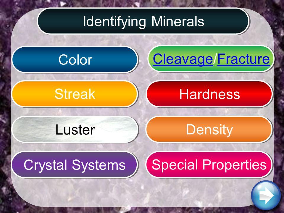 Identifying MineralsCrystal SystemsCleavageCleavage/FractureFractureSpecial PropertiesDensityHardnessColorStreakLuster