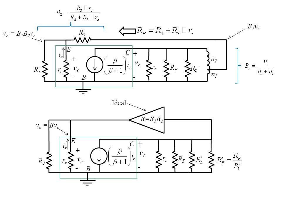 R3R3 rere ieie rcrc RPRP R4R4 n2n2 n1n1 + v e - B C E + v c - B1vcB1vc v e = B 1 B 2 v c R3R3 rere ieie rcrc RPRP + v e - B C E + v c - B=B 1 B 2 v e = Bv c Ideal
