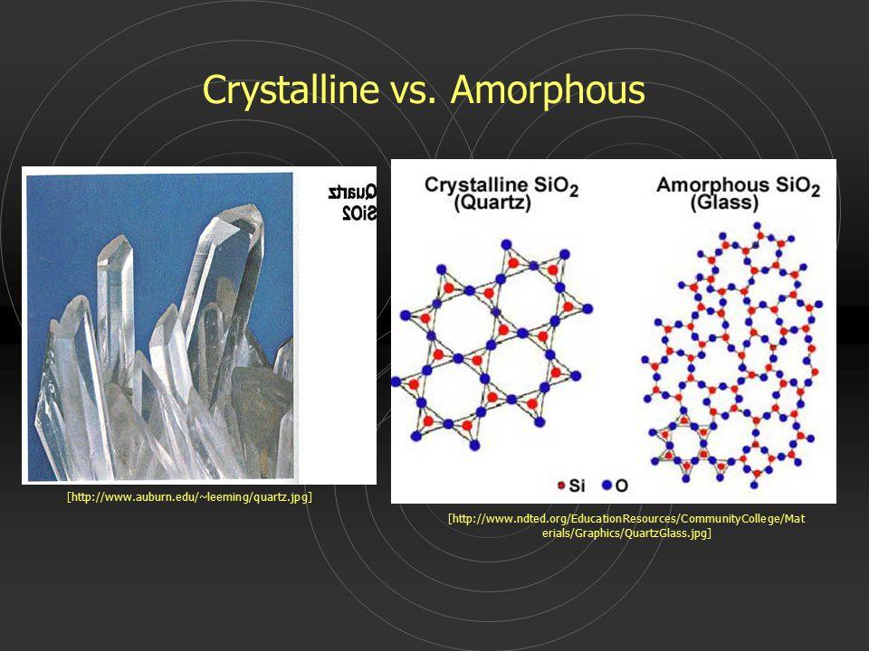 [http://www.auburn.edu/~leeming/quartz.jpg] [http://www.ndted.org/EducationResources/CommunityCollege/Mat erials/Graphics/QuartzGlass.jpg] Crystalline