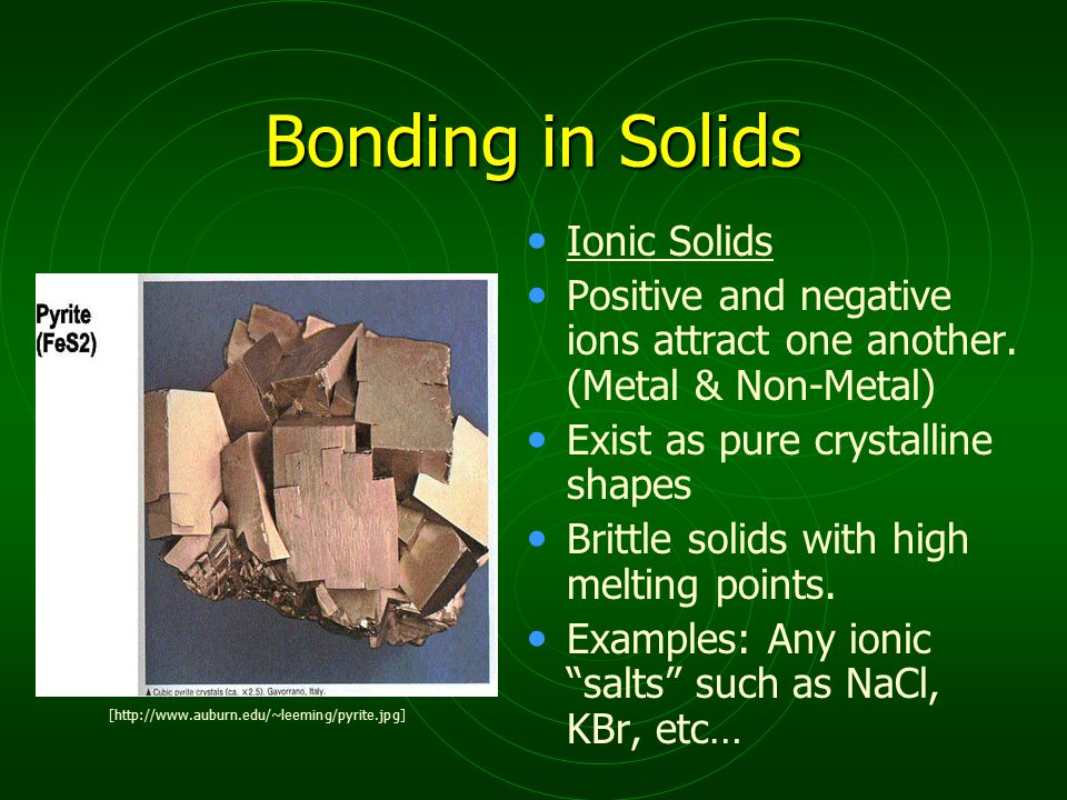 Bonding in Solids Ionic Solids Positive and negative ions attract one another.