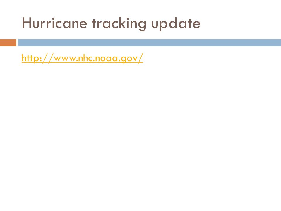 Hurricane tracking update http://www.nhc.noaa.gov/
