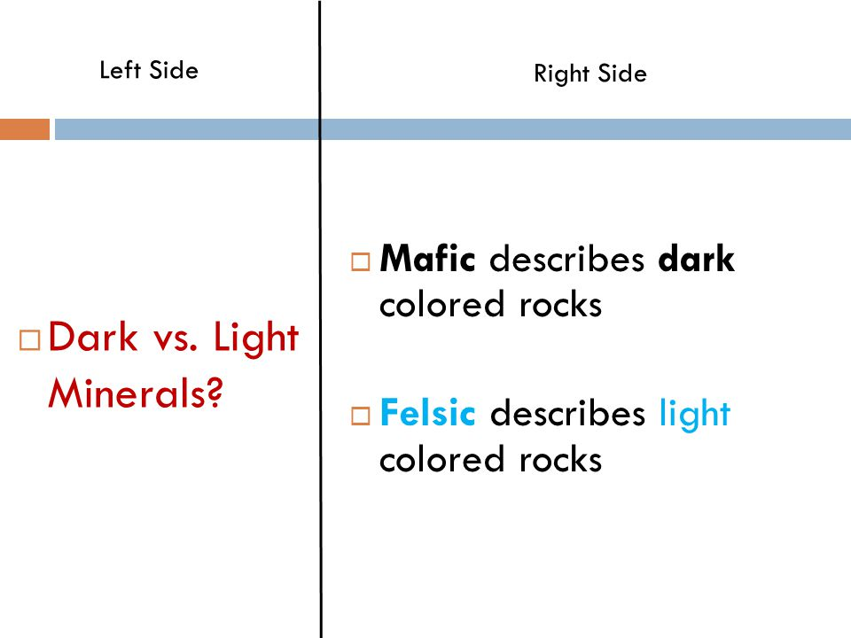  Dark vs.Light Minerals.