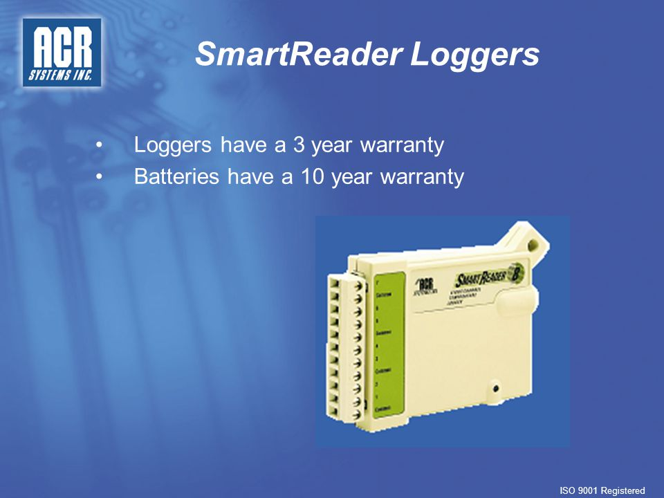 SmartReader Loggers ISO 9001 Registered SmartReader Network   Using the IC-200, a maximum of 8 loggers can be networked together