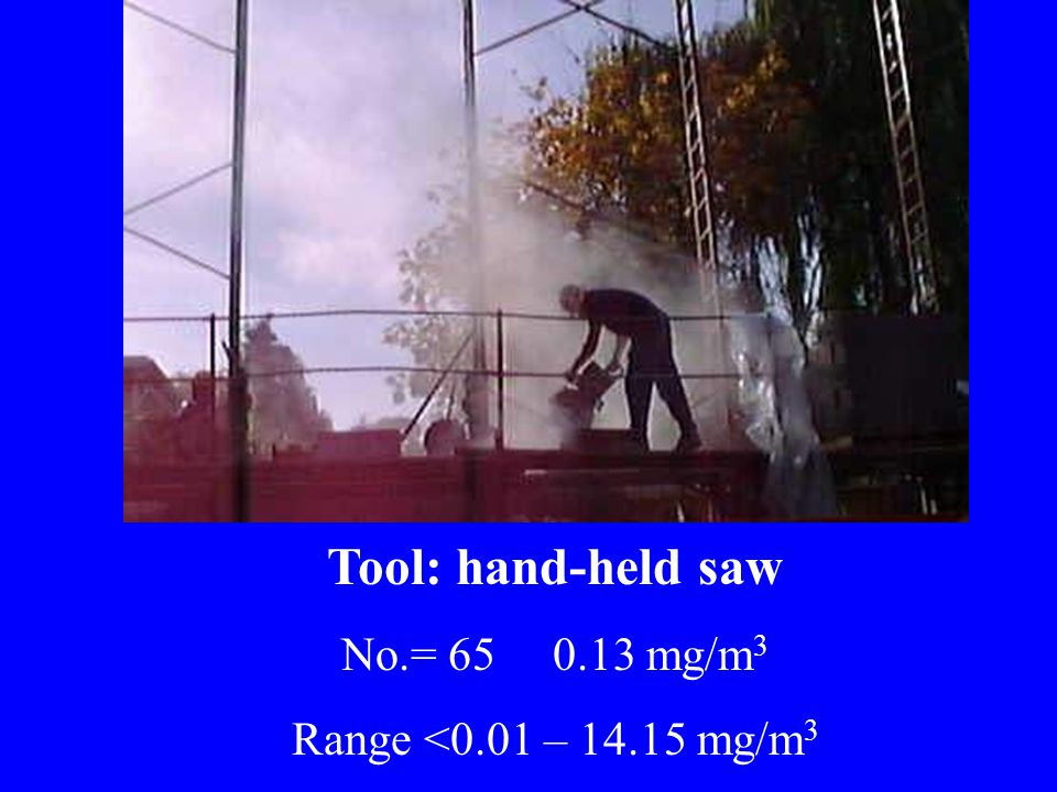 Tool: hand-held saw No.= 65 0.13 mg/m 3 Range <0.01 – 14.15 mg/m 3