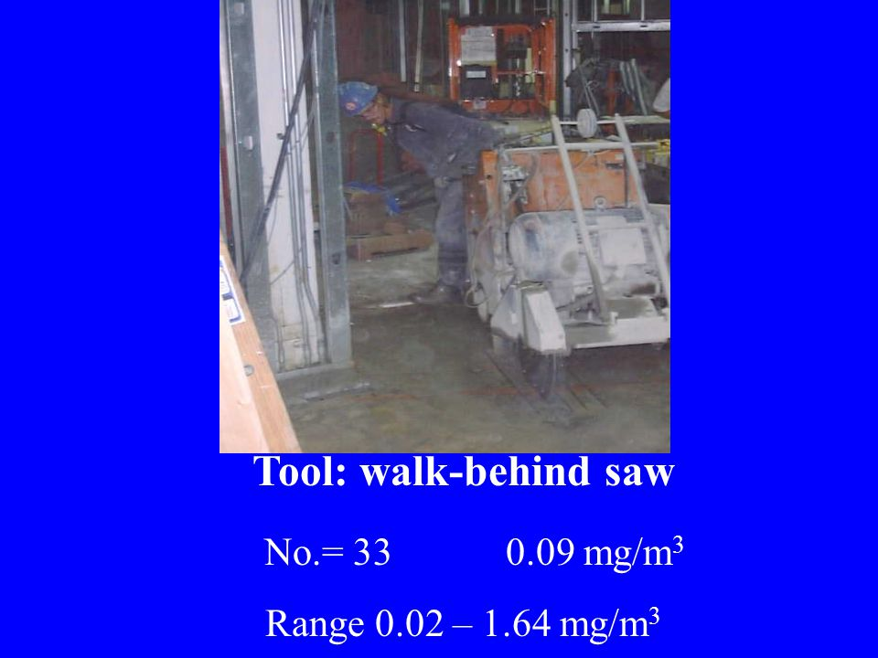 Tool: walk-behind saw No.= 33 0.09 mg/m 3 Range 0.02 – 1.64 mg/m 3