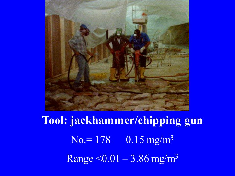 Tool: jackhammer/chipping gun No.= 178 0.15 mg/m 3 Range <0.01 – 3.86 mg/m 3