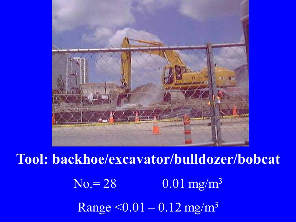 Tool: backhoe/excavator/bulldozer/bobcat No.= 28 0.01 mg/m 3 Range <0.01 – 0.12 mg/m 3