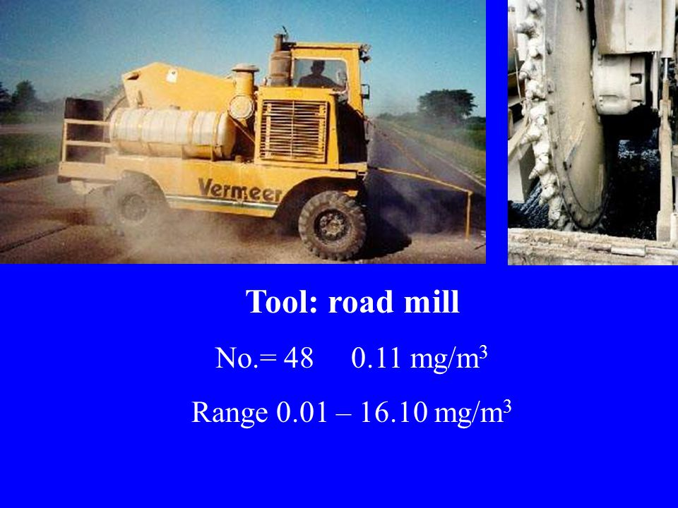 Tool: road mill No.= 48 0.11 mg/m 3 Range 0.01 – 16.10 mg/m 3