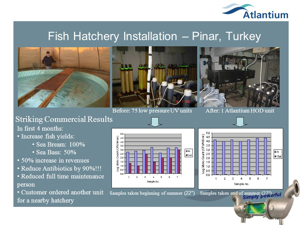 Simply powerful Fish Hatchery Installation – Pinar, Turkey Before: 75 low pressure UV units After: 1 Atlantium HOD unit Samples taken beginning of sum
