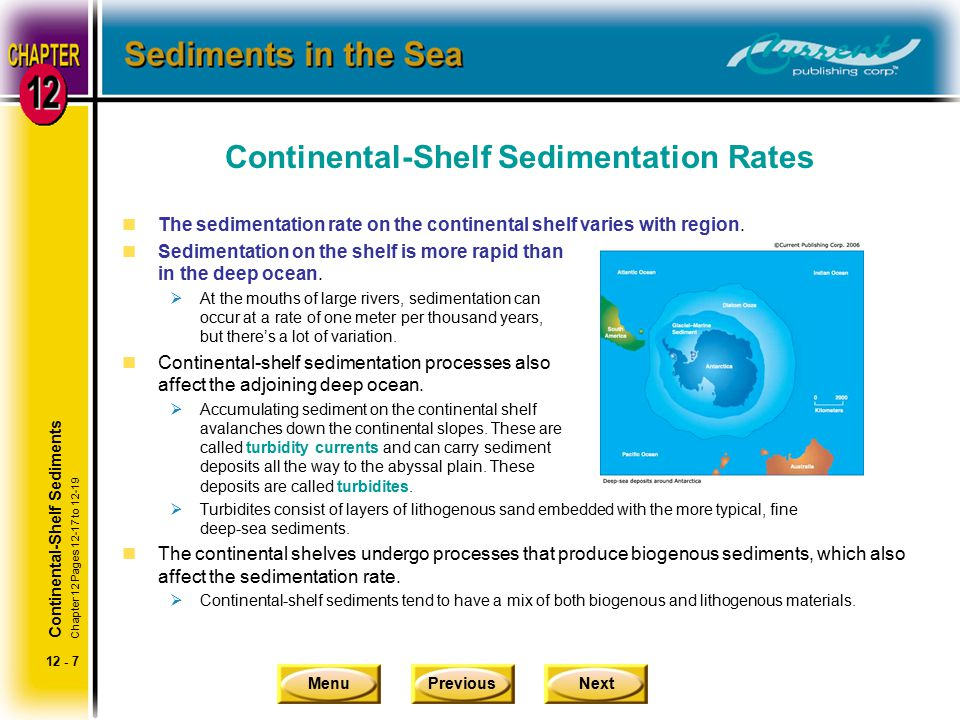 MenuPreviousNext 12 - 7 Continental-Shelf Sedimentation Rates nThe sedimentation rate on the continental shelf varies with region.