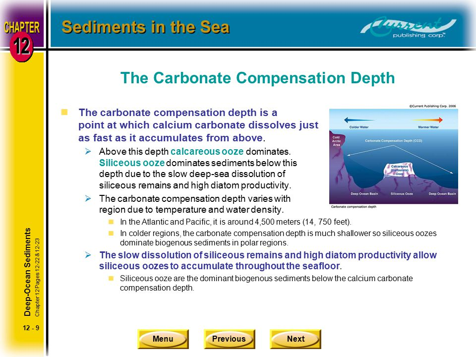 MenuPreviousNext 12 - 9 The Carbonate Compensation Depth nThe carbonate compensation depth is a point at which calcium carbonate dissolves just as fas