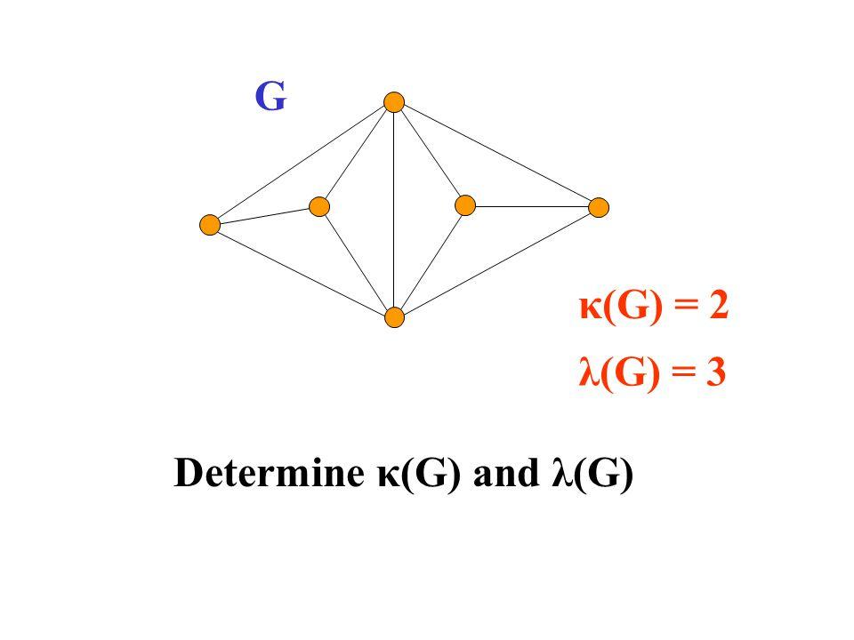 Determine κ(G) and λ(G) G λ(G) = 3 κ(G) = 2