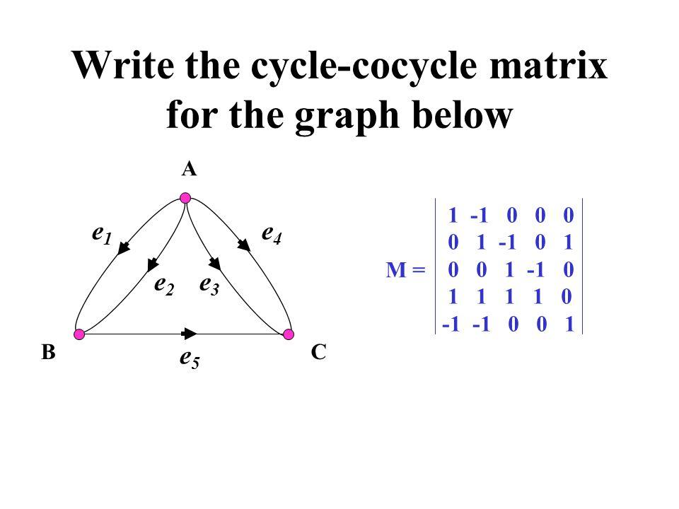 Write the cycle-cocycle matrix for the graph below A BC e1e1 e2e2 e3e3 e4e4 e5e5 M = 1 -1 0 0 0 0 1 -1 0 1 0 0 1 -1 0 1 1 1 1 0 -1 -1 0 0 1