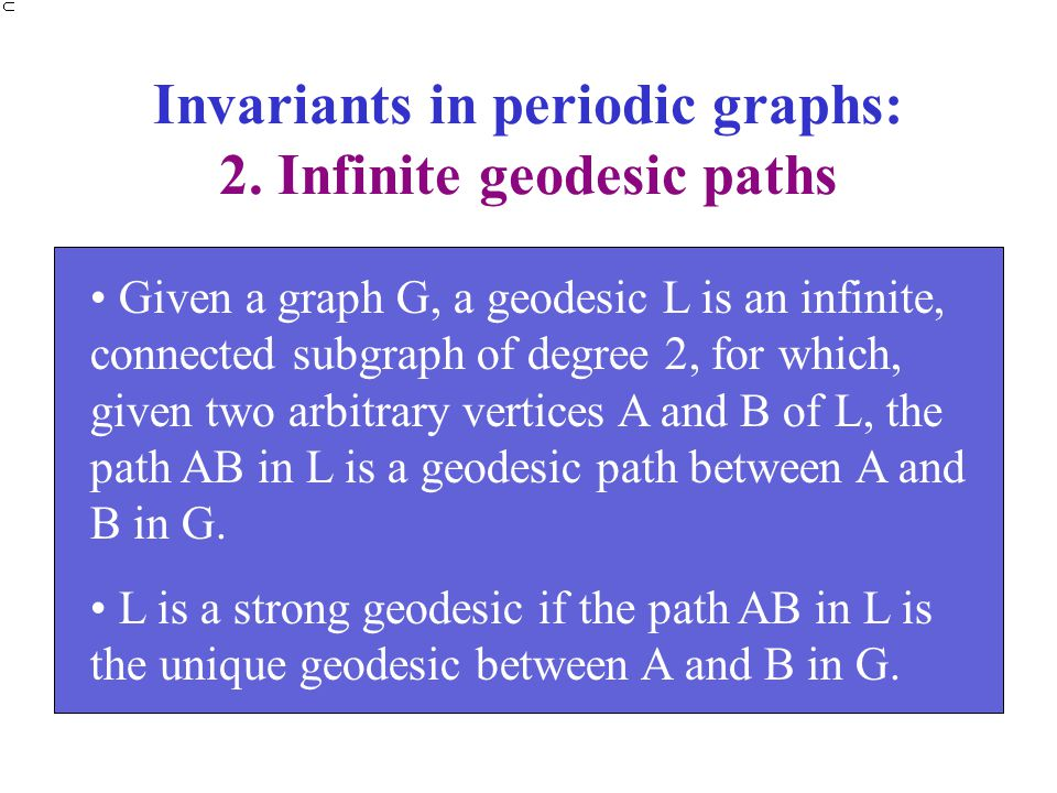 Invariants in periodic graphs: 2. Infinite geodesic paths Given a graph G, a geodesic L is an infinite, connected subgraph of degree 2, for which, giv