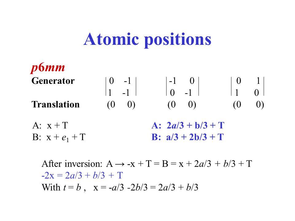 Atomic positions p6mm Generator 0 -1 -1 0 0 1 1 -1 0 -1 1 0 Translation (0 0) (0 0) (0 0) A: x + T B: x + e 1 + T After inversion: A → -x + T = B = x