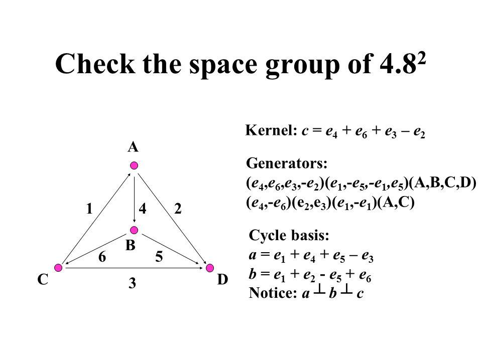 Check the space group of 4.8 2 A B 12 3 4 56 DC Kernel: c = e 4 + e 6 + e 3 – e 2 Generators: (e 4,e 6,e 3,-e 2 )(e 1,-e 5,-e 1,e 5 )(A,B,C,D) (e 4,-e