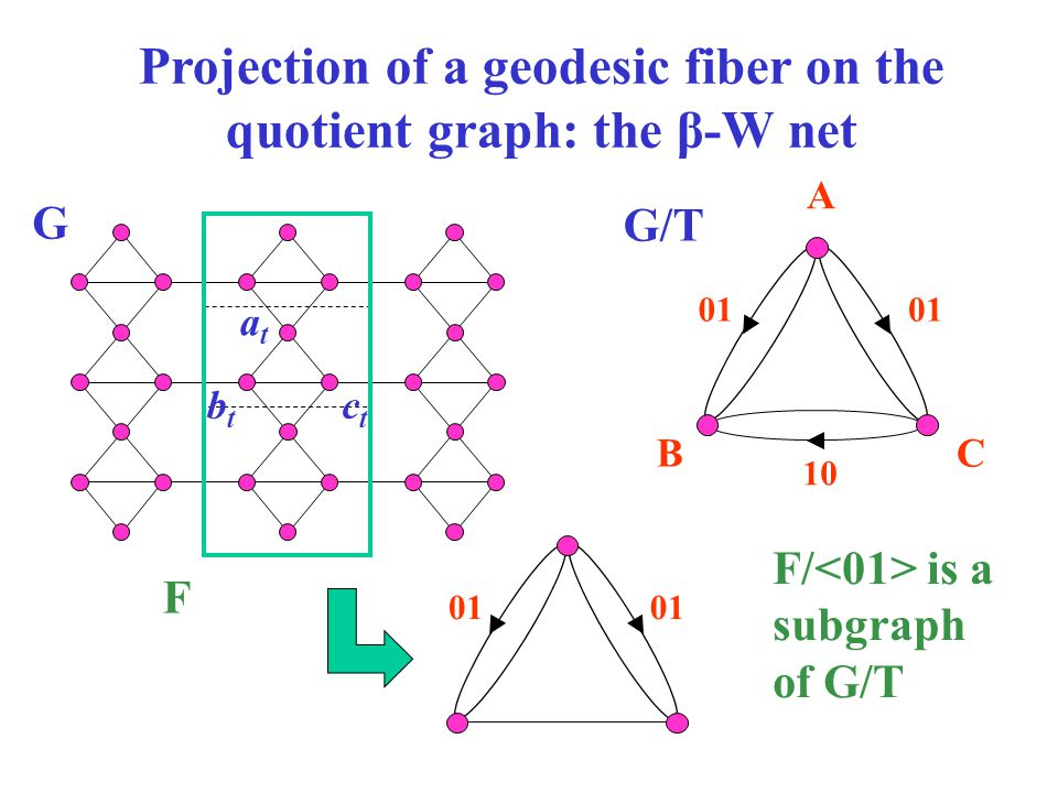 Projection of a geodesic fiber on the quotient graph: the β-W net atat btbt ctct A BC 10 01 F G G/T F/ is a subgraph of G/T 01