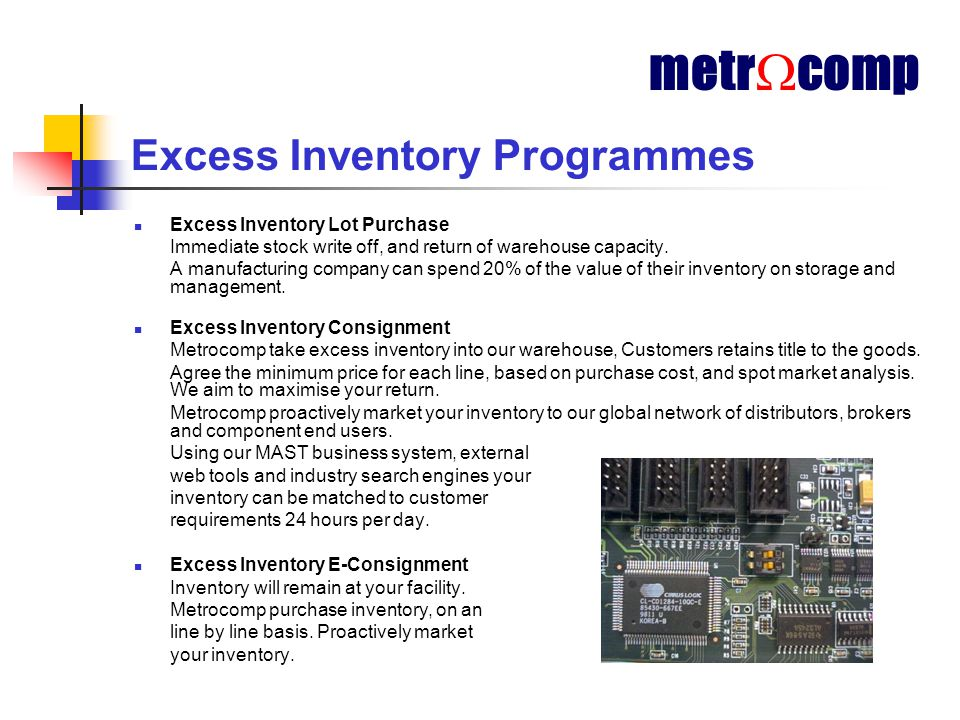 Excess Inventory Programmes Excess Inventory Lot Purchase Immediate stock write off, and return of warehouse capacity.