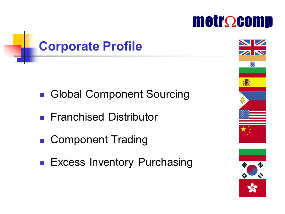 Corporate Profile Global Component Sourcing Franchised Distributor Component Trading Excess Inventory Purchasing metr  comp