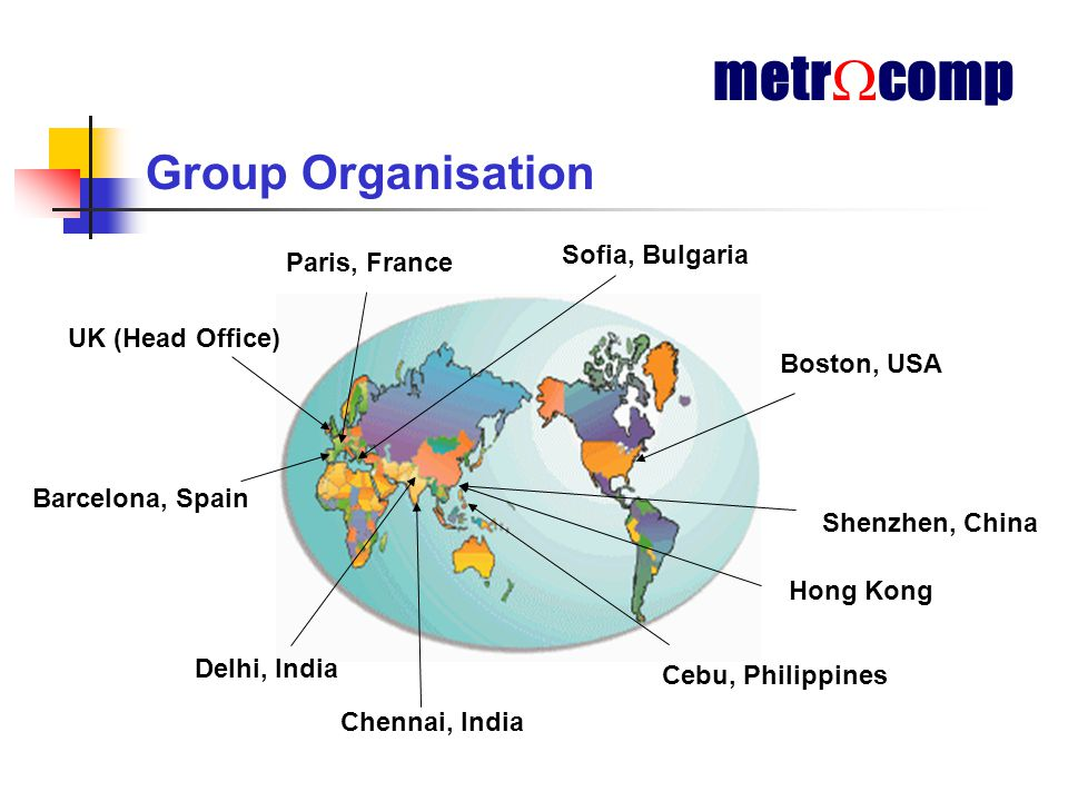 Group Organisation UK (Head Office) Barcelona, Spain Sofia, Bulgaria Boston, USA Hong Kong Delhi, India Chennai, India metr  comp Cebu, Philippines Shenzhen, China Paris, France