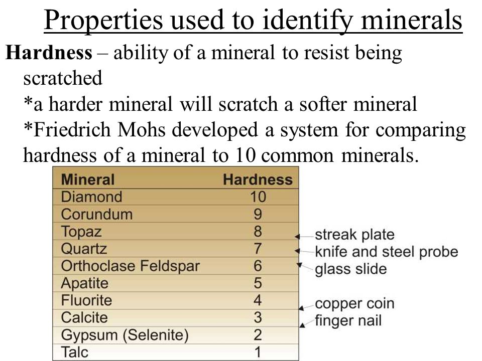 Properties used to identify minerals Hardness – ability of a mineral to resist being scratched *a harder mineral will scratch a softer mineral *Friedrich Mohs developed a system for comparing hardness of a mineral to 10 common minerals.