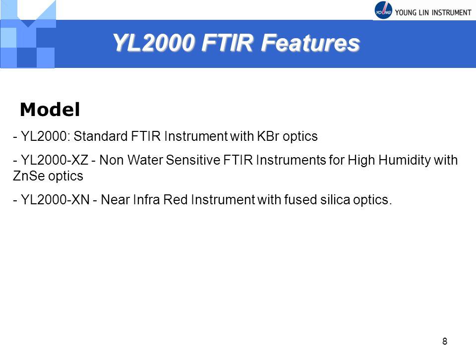 8 YL2000 FTIR Features YL2000 FTIR Features Model - YL2000: Standard FTIR Instrument with KBr optics - YL2000-XZ - Non Water Sensitive FTIR Instrument