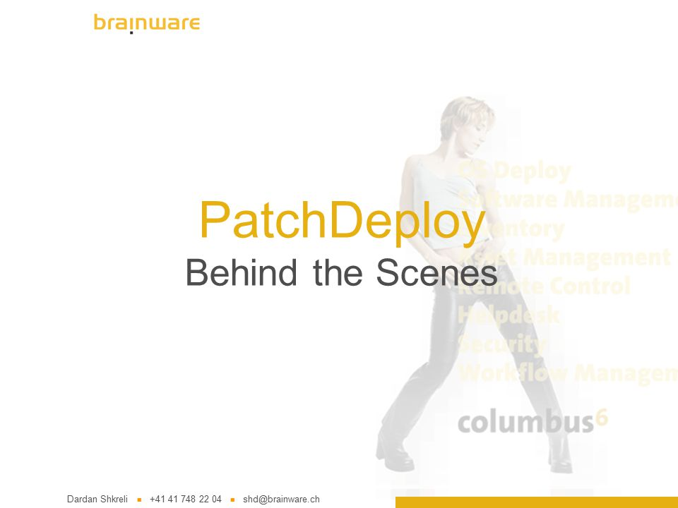 PatchDeploy Behind the Scenes Dardan Shkreli +41 41 748 22 04 shd@brainware.ch