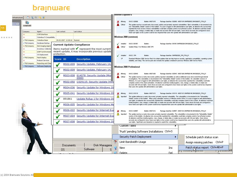 11 (c) 2004 Brainware Solutions AG Testing/Infrastructure Combined testing - automated/human Analysis & Infrastructure for testing Live tests Download
