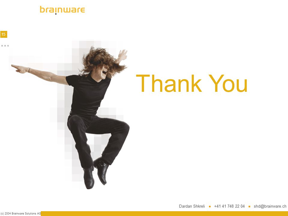 15 (c) 2004 Brainware Solutions AG Thank You Dardan Shkreli +41 41 748 22 04 shd@brainware.ch