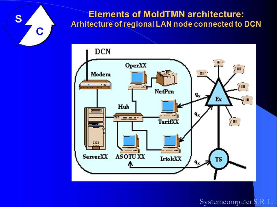 Elements of MoldTMN architecture: Central LAN topology of National DCN Systemcomputer S.R.L.