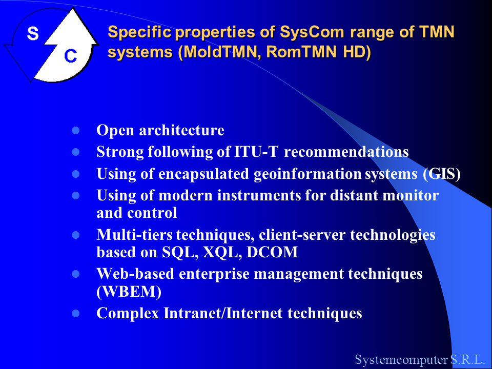 Elements of MoldTMN architecture: Performance management Systemcomputer S.R.L.