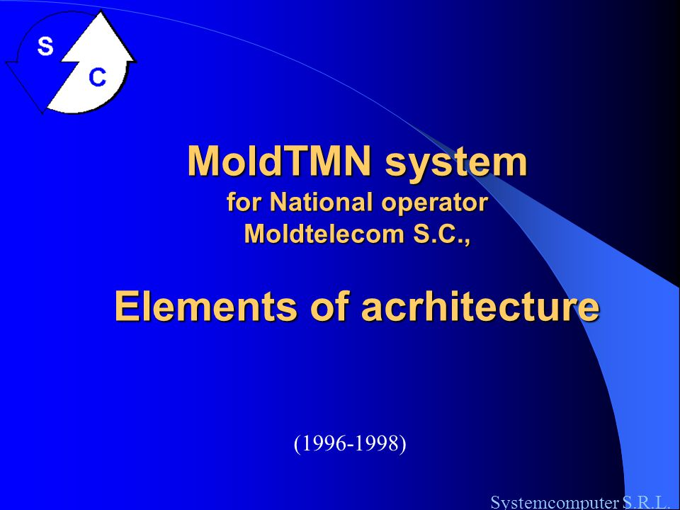 Elements of arhitecture of RomTMN HD: Account Management Systemcomputer S.R.L.