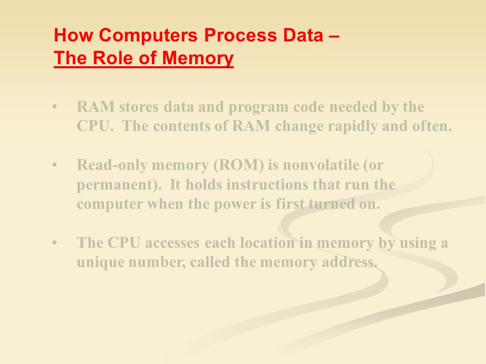 RAM stores data and program code needed by the CPU.