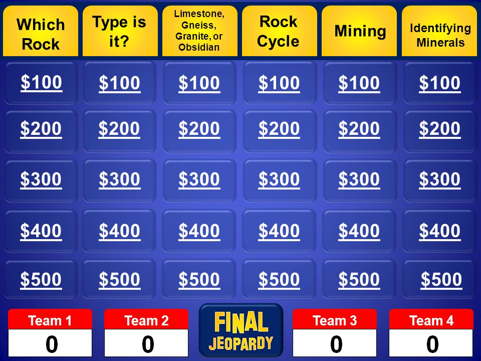 Which Rock $100 $200 $300 $400 $500 Type is it.