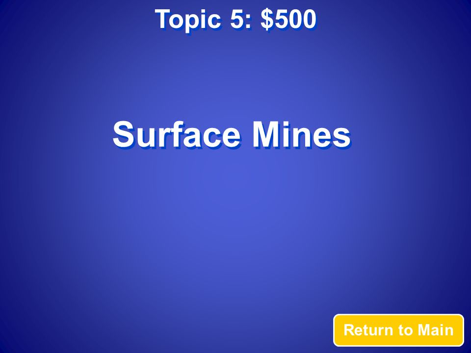 Topic 5: $500 Return to Main Surface Mines