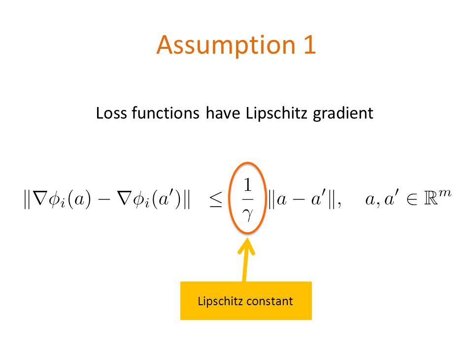 Assumption 1 Loss functions have Lipschitz gradient \[ \|\nabla \phi_i(a)-\nabla \phi_i(a )\|\;\; \leq\;\; \frac{1}{\gamma}\;\; \|a-a \|, \quad a,a \in \mathbb{R}^m\] Lipschitz constant