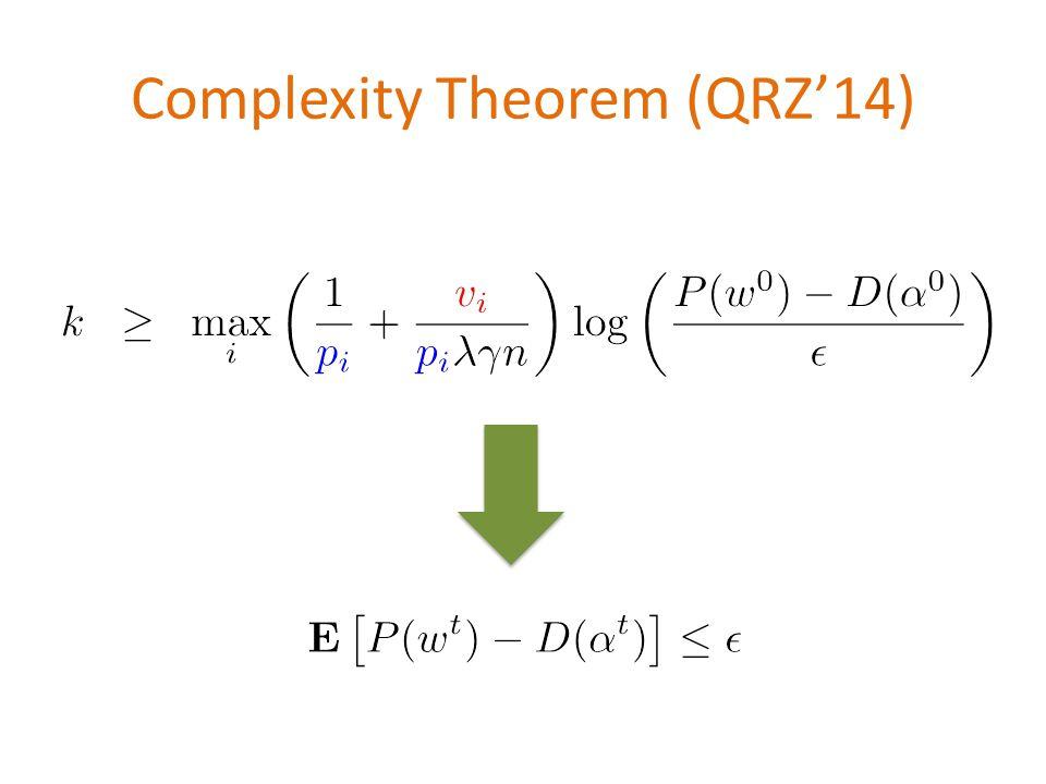 Complexity Theorem (QRZ'14) \[k\;\;\geq \;\; \max_i \left( \frac{1}{{\color{blue}p_i}} + \frac{{\color{red}v_i}}{{\color{blue}p_i} \lambda \gamma n}\right) \log \left( \frac{P(w^0)-D(\alpha^0)}{\epsilon} \right)\] \[\mathbf{E}\left[P(w^t)-D(\alpha^t)\right] \leq \epsilon\]