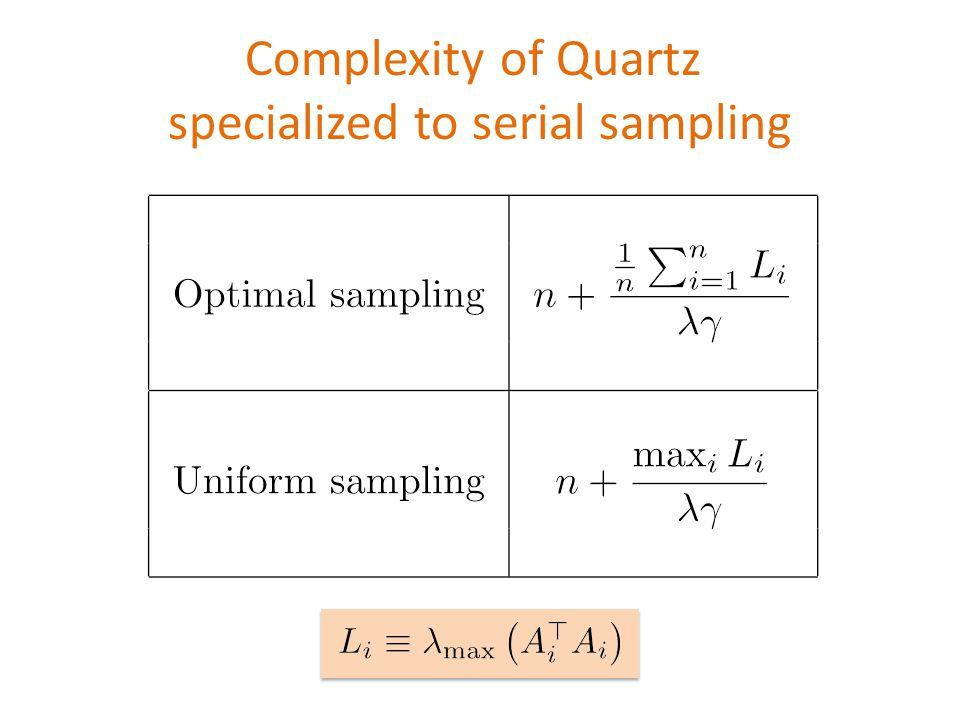 \begin{table} \begin{tabular}{|c|c|} \hline & \\ Optimal sampling & $ \displaystyle n +\frac{\tfrac{1}{n}\sum_{i=1}^n L_i}{\lambda \gamma}$ \\ & \\ \hline & \\ Uniform sampling & $\displaystyle n +\frac{\max_i L_i}{\lambda \gamma}$ \\ & \\ \hline \end{tabular} \end{table} Complexity of Quartz specialized to serial sampling