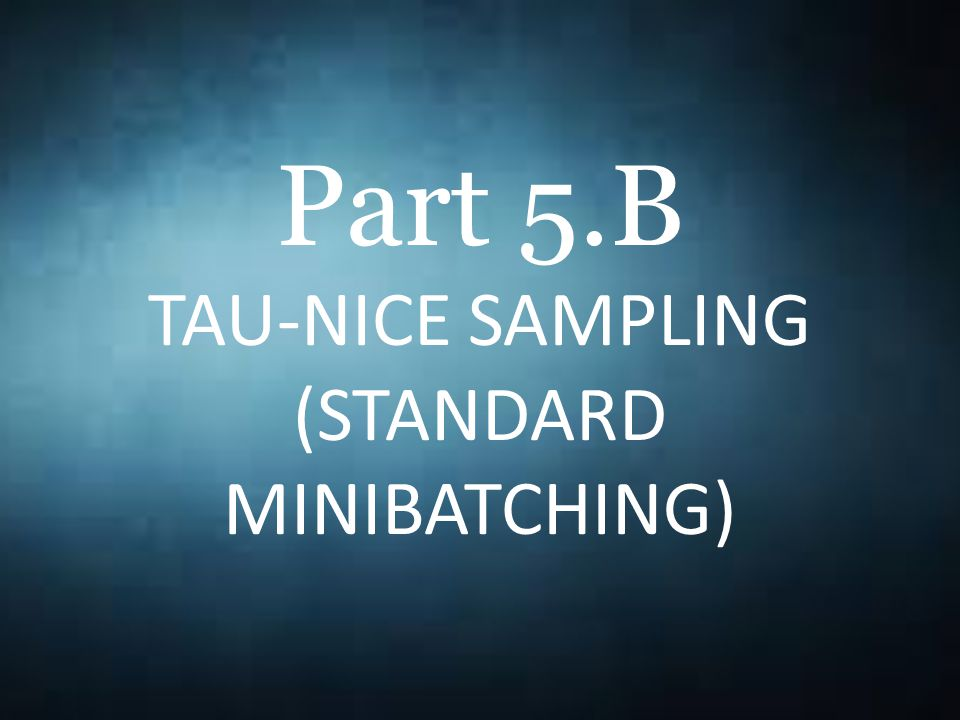 Part 5.B TAU-NICE SAMPLING (STANDARD MINIBATCHING)