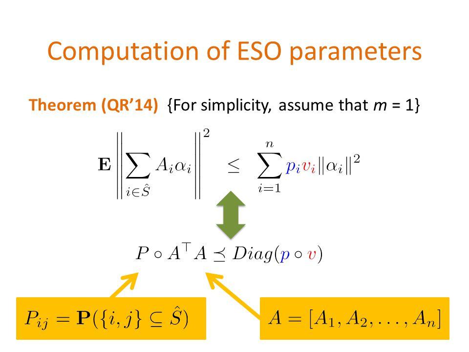 Computation of ESO parameters \[ \mathbf{E} \left\| \sum_{i\in \hat{S}} A_i \alpha_i\right\|^2 \;\;\leq \;\; \sum_{i=1}^n {\color{blue} p_i} {\color{red} v_i}\|\alpha_i\|^2 \] \[\Updownarrow\] \[ P \circ A^\top A \preceq Diag({\color{blue}p}\circ {\color{red}v})\] Theorem (QR'14) {For simplicity, assume that m = 1} \[A = [A_1,A_2,\dots,A_n]\]
