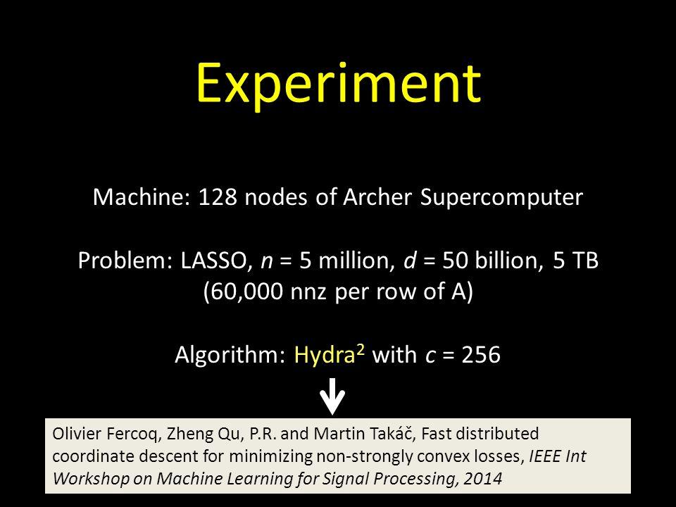 Experiment Machine: 128 nodes of Archer Supercomputer Problem: LASSO, n = 5 million, d = 50 billion, 5 TB (60,000 nnz per row of A) Algorithm: Hydra 2