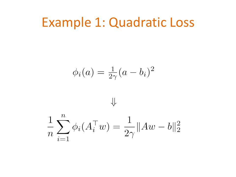 Example 1: Quadratic Loss \[ \phi_i(a)=\tfrac{1}{2\gamma}(a-b_i)^2 \] \[\Downarrow\] \[ \frac{1}{n}\sum_{i=1}^n \phi_i(A_i^\top w) =\frac{1}{2\gamma}\|Aw-b\|_2^2 \]