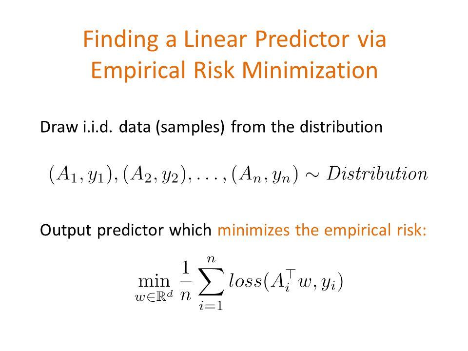 Finding a Linear Predictor via Empirical Risk Minimization \[\min_{w\in \mathbb{R}^d} \frac{1}{n}\sum_{i=1}^n loss(A_i^\top w, y_i)\] \[(A_1,y_1), (A_2,y_2), \dots, (A_n,y_n)\sim \emph{Distribution}\] Draw i.i.d.